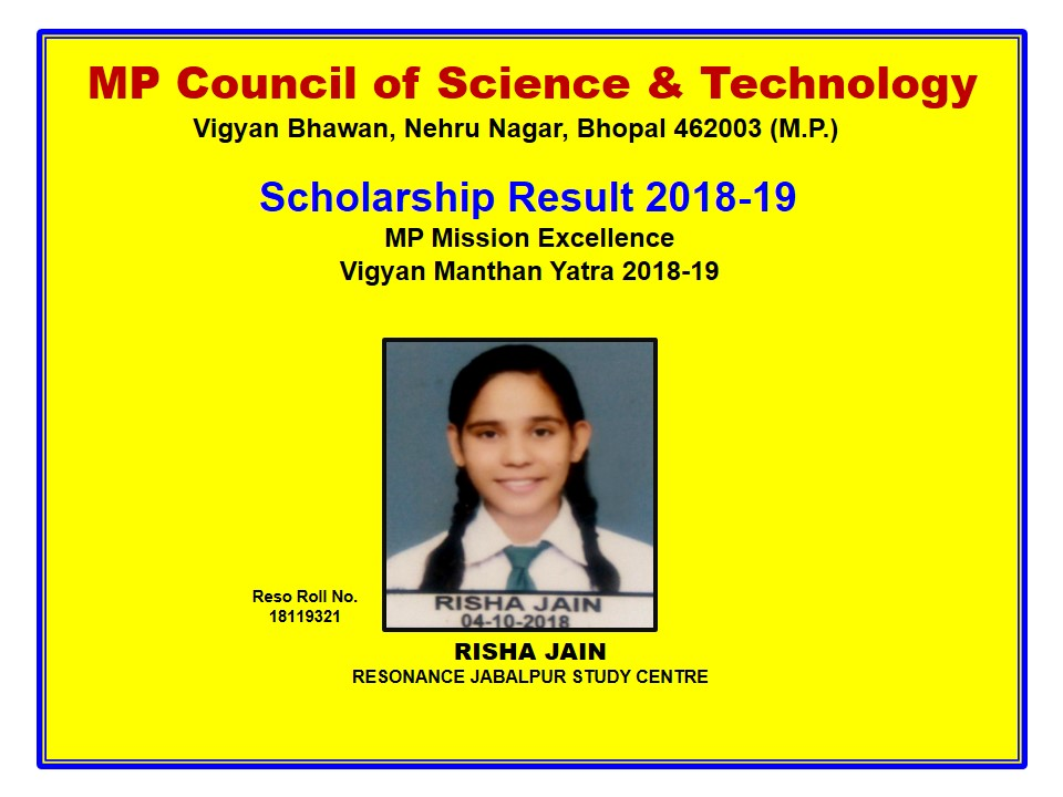 MP Council of Science & Technology (Scholarship Result 2018-19)