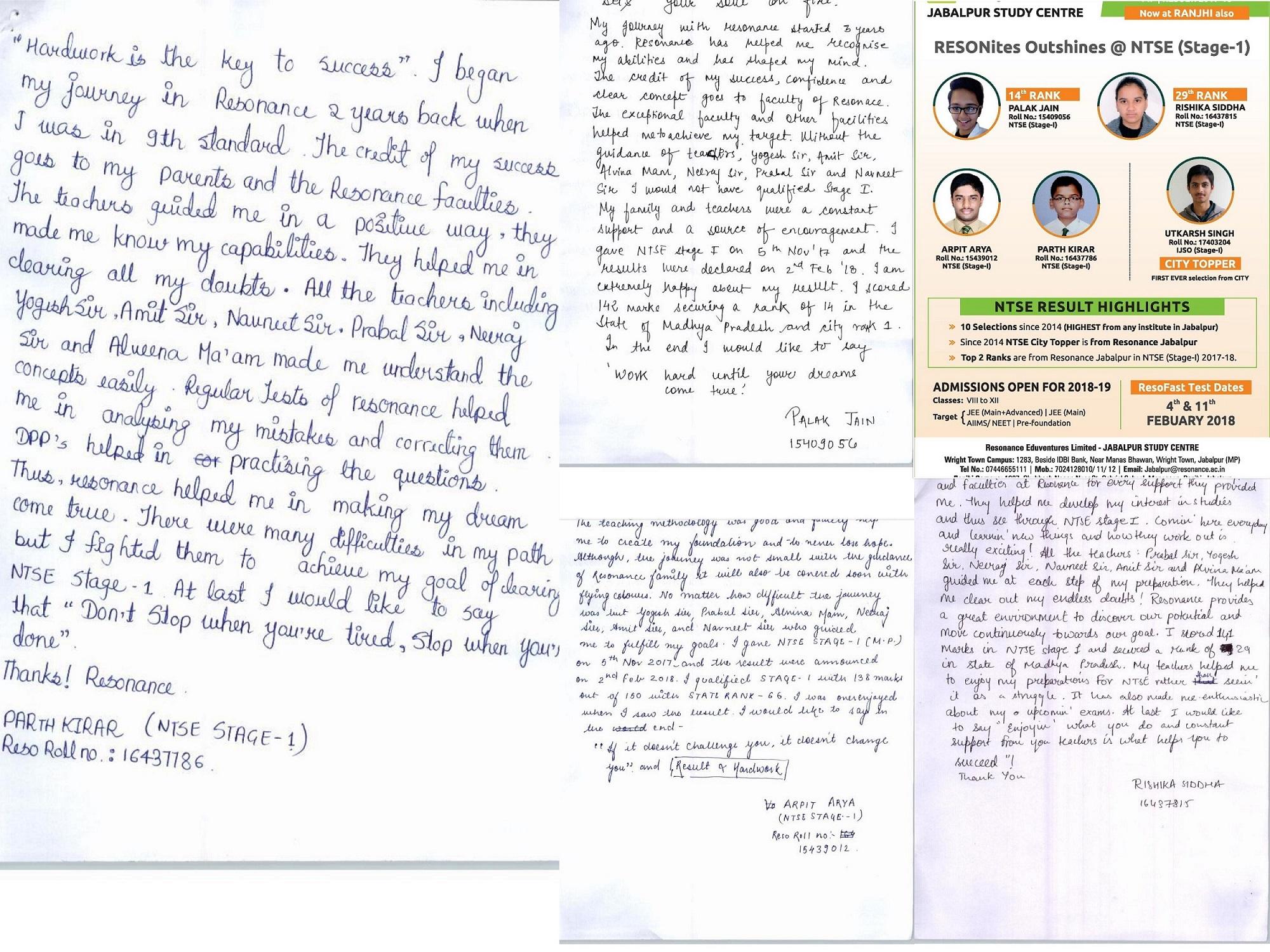 NTSE qualified student testimonial