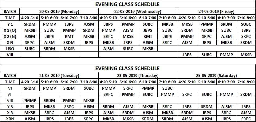 PCCP time table 19.05.2019 to 25.05.2019
