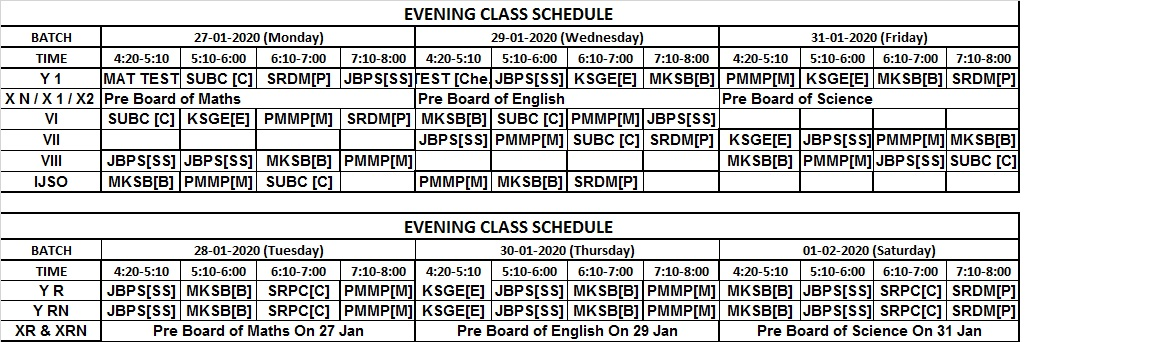 PCCP time table 27.01.2020 to 02.02.2020