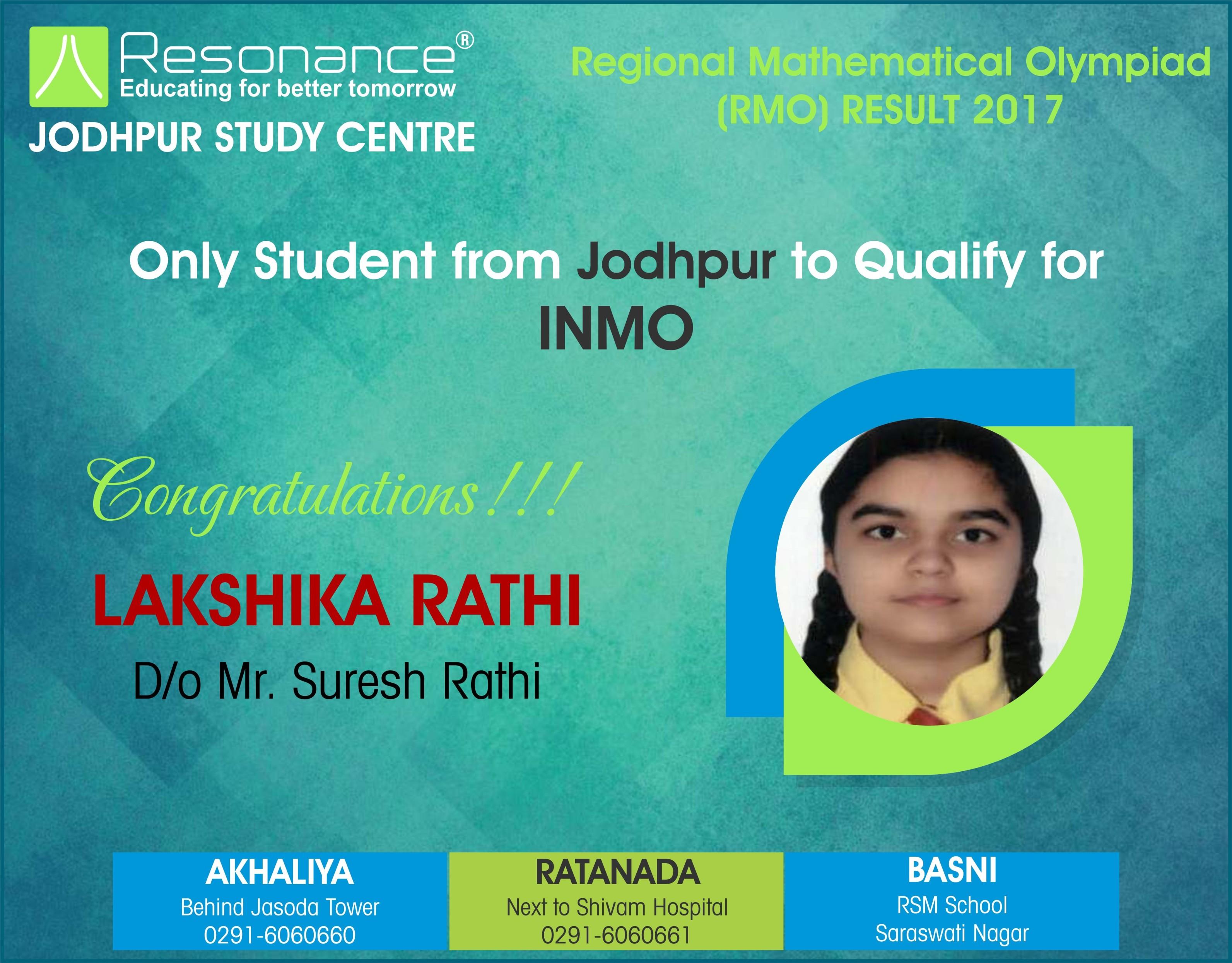 Regional Mathematical Olympiad (RMO) Result 2017