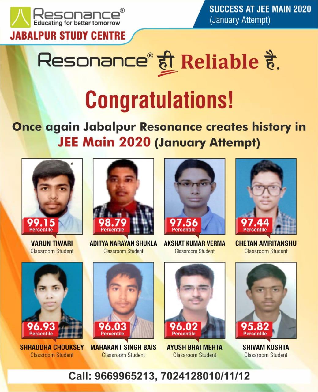 RESONANCE JABALPUR..RELIABLE RESULTS..