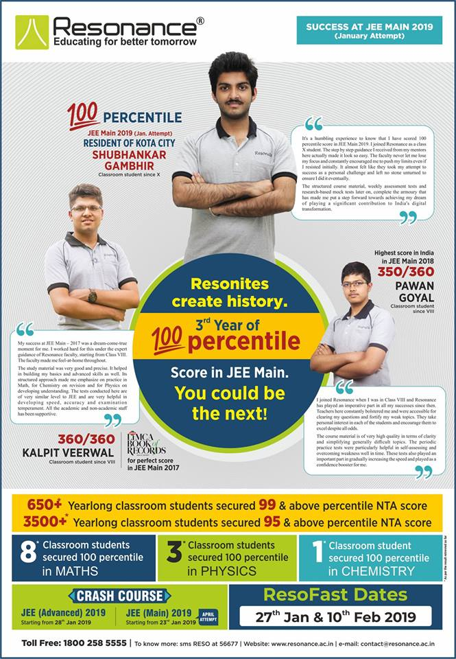 RESONites Create History in JEE Main 2019 (January Attempt)