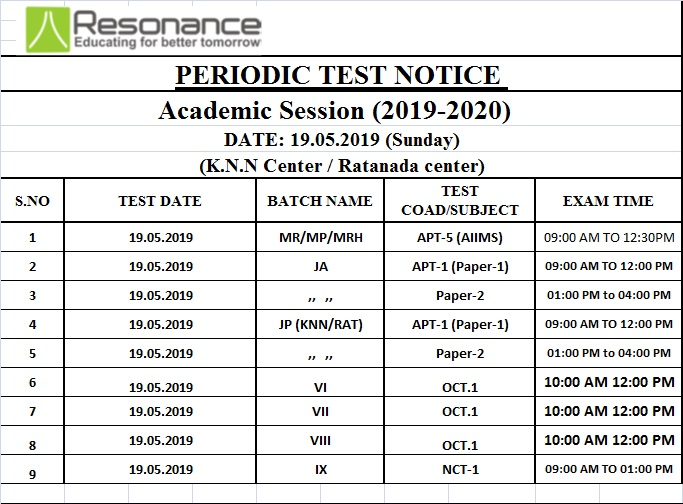 Sunday Exam time table 19.05.2019