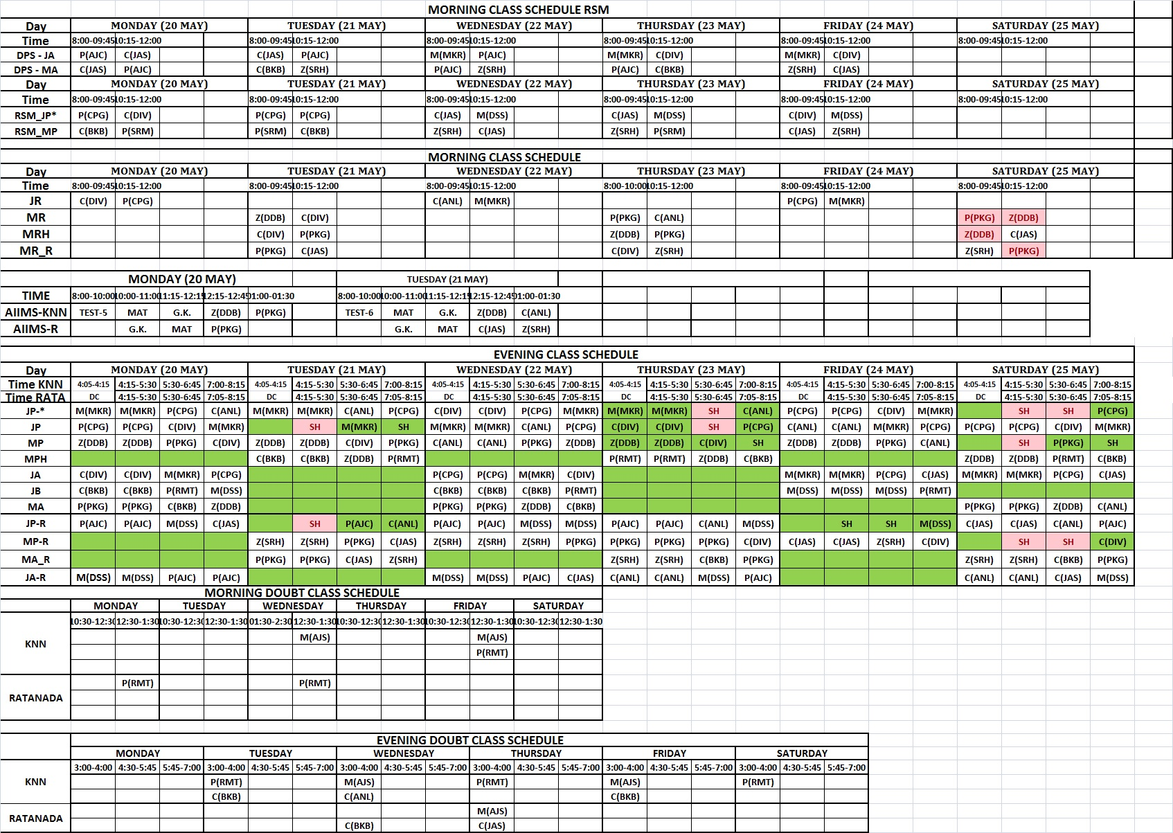 YCCP time table 20.05.2019 to 25.05.2019
